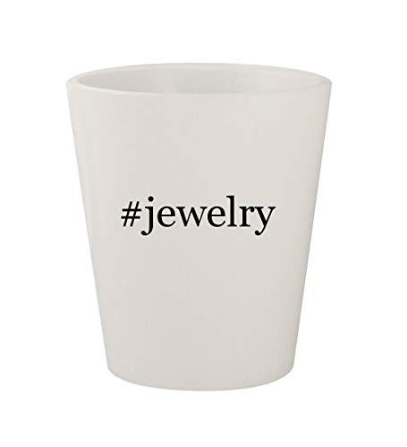 (#jewelry - Ceramic White Hashtag 1.5oz Shot Glass)