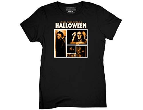 Ripple Junction Halloween Womens Screen Blocks Light Weight 100% Cotton Crew T-Shirt XL Black