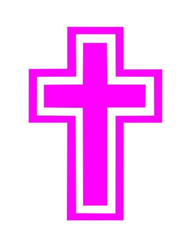 Cross Christian Religious Vinyl Decal Car Truck Window Laptop Notebook Ipad Tablet Bumper (4.5, Pink)