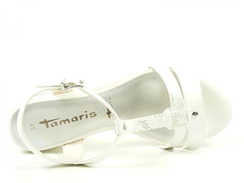 Tamaris 28220, Sandalias con Tira a T para Mujer Weiß
