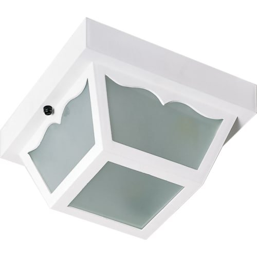 Nuvo SF77/835 Poly Frame Carport Flush Mount with Frosted Acrylic Panels, White, Small