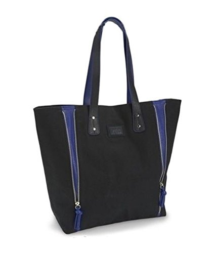 (Aeropostale Womens Solid Zippered Tote Handbag Purse, Black, Medium (23 in. - 25 in.))