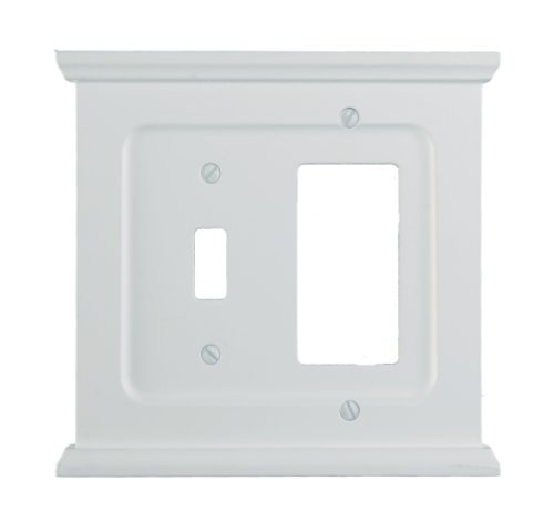 - AmerTac SB178TRW Mantel Composite Wood Single Toggle/Single Rocker-GFCI Wallplate, White
