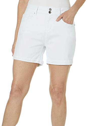 Royalty by YMI Womens Double Button Roll Cuff Denim Shorts 16 White ()