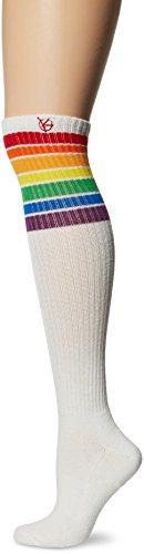 KurB Women's Sport Knee High, White Rainbow Spectrum Stripe, 9-11/Shoe Size 4-10 ()