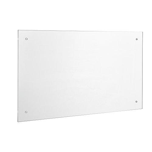 [neu.haus] Glas Küchenrückwand / Spritzschutz (70x50cm) - Klarglas - Fliesenspiegel inkl. Befestigungsmaterial