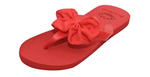 Damen Flip Flops DUNLOP Damen Strand Schuhe rutschfest auf Chiffon Schleife Zehensteg Sandale Rot