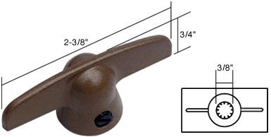 CRL Copper T-Crank Window Handle with 3/8; Spline Size for Pella H3813 ()
