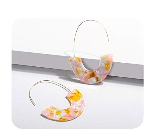 - Ainiya Fashion Acrylic Hoop Earrings Marble Tortoise Shell Circle Acetate Resin Earring Ear Drop Dangles Pink Tone