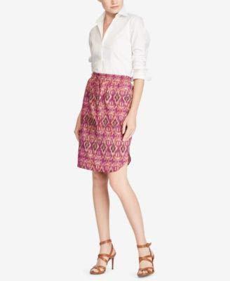LAUREN RALPH LAUREN Womens Printed Straight-Fit Pencil Skirt Purple - Ralph Lauren Skirts Women