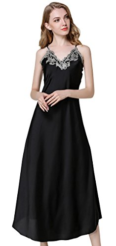 - Womens Satin Long Nightgown Lace Lingerie Fashion Soft Full Slip Nightie Gown Nightdress Chemise Sexy Sleepwear Black L