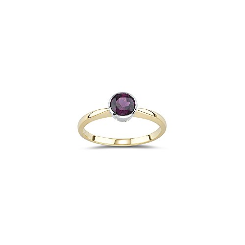 1.00 Ct of 6 mm AA Round Rhodolite Solitaire Ring in 14K Yellow Gold-10.0 ()