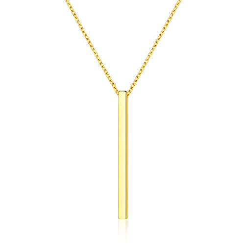 Vertical Bar Necklace 18K Gold Plated Sterling Silver Y Style Simple Fashion Pendant Necklace, Rolo Chain 18