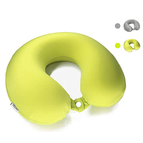 PROMIC Airplane Travel Pillow with Silky Cover - Memory Foam Airplane Neck Pillow, Travel Neck Chin Support, Neck Pain Relief Pillow for Travel, Home, Office - Bonus Carry Bag (Lime Green) ()