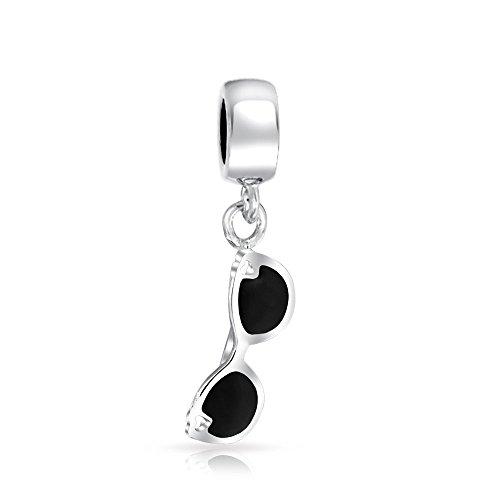 Black Movie Star Sunglasses 925 Sterling Silver Dangle Travel Bead Fits European Charm Bracelet For Women For Teens