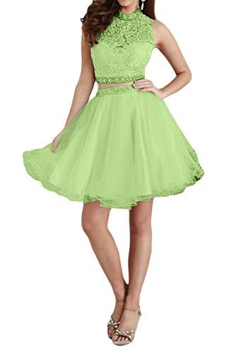 Hell Brau Zwei Gruen Tanzenkleider Abendkleider La Spitze teilig Promkleider Mini Cocktailkleider mia Festlichkleider Partykleider 1wnnqgE57B