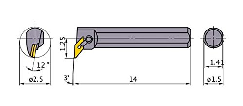 Mitsubishi Materials S-MVUNR-243 Multiple Clamp Boring Bar with 0.375 IC Rhombic 35/° Insert Right 2.500 Minimum Cutting Dia. 1.500 Shank Dia 93/° Cutting Angle Steel Shank