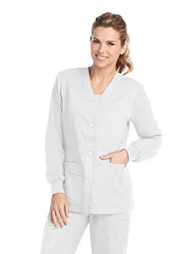 Grey's Anatomy Women's Junior Fit 4 Pocket Sport Button Front Scrub Jacket, White, - Lab Barco