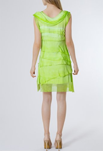 CASPAR SKL006 viele Sommerkleid Damen aus Grün Seide mit Kleid leichtes Farben Franzen 878wv