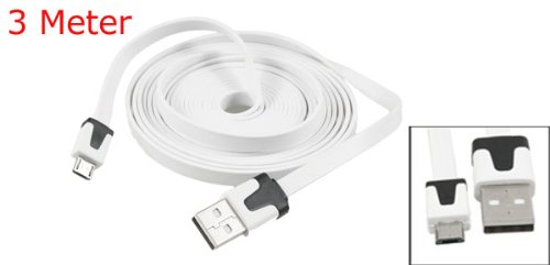 White 3 Meter USB Type A to Micro 5 Pin USB Data Cable for HTC