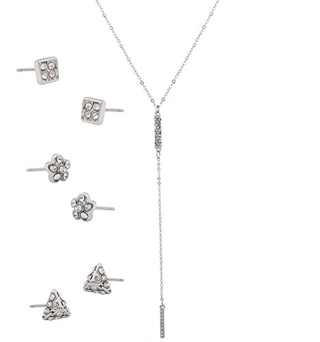 XOCARTIGE Y Choker Necklace Earrings Set Crystal Pendant Delicate Necklace Geometric Stud Earrings Flower Square Triangle for Women ()