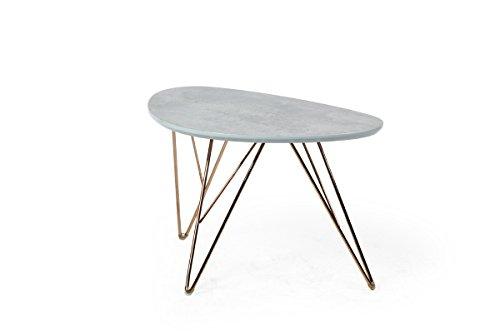 bonVIVO® Design-Couchtisch LOUIS, Beistelltisch/ Nierentisch im 50er Jahre Retro-Look in Marmor-Stein-Otik und Metall-Füßen in gold (90 x 60 cm)