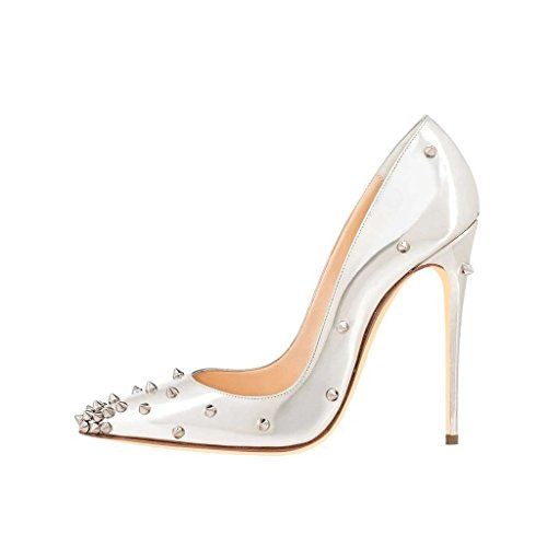 online cheap quality for sale free shipping FSJ Women Classic Studded High Heel Pumps with Rivets Pointy Toe Stiletto Prom Shoes Size 4-15 US Silver official online good selling online for nice cheap price U0YKslM