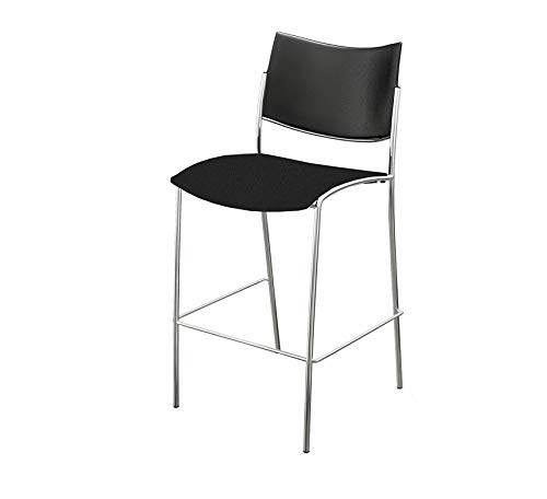 (Wood & Style Furniture Stack Chair Plastic Seat and Back, (Qty. 4), Black Home Bar Pub Café Office Commercial)