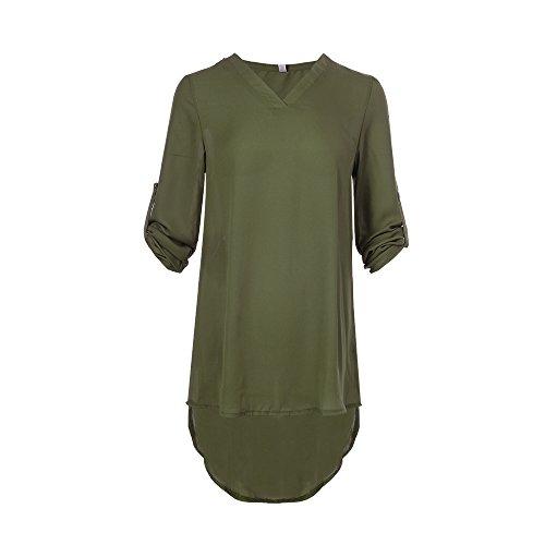 Chemisiers Shirt Longue Blouse Irrgulier Top T Long Col Chic de laamei Femme Vert Haut Chemise Tunique Soie Grande Ourlet Ample Manches Longues Mousseline V Longues Chemise qxgSz8wv