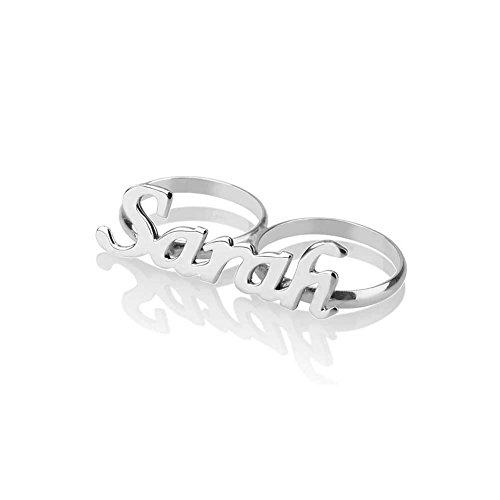 HACOOL Personalized 925 Sterling Silver Two Fingers Name Ring Custom Made with Any Names (Silver) Custom Two Finger Ring