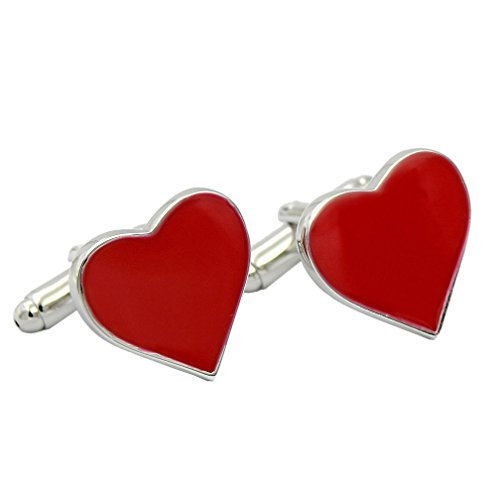 ENVIDIA Red Heart-Shaped Valentine Love Cufflinks Wedding Party Gifts With -