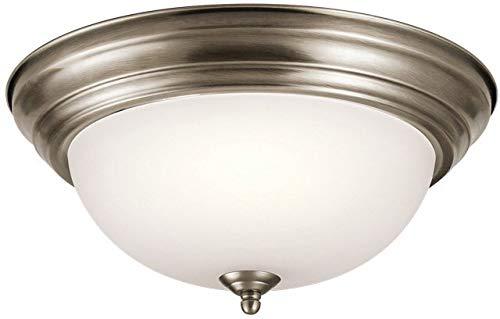 Kichler 8112AP Flush Mount Round Glass Ceiling Lighting, Antique Pewter 2-Light (14