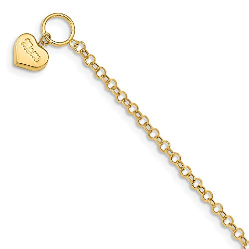 14k Yellow Gold Mom Heart Toggle Bracelet 7.5 Inch/love Fine Jewelry Gifts For Women For Her