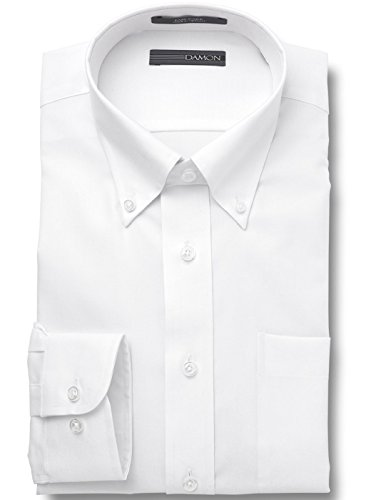 (Damon Ultra Pinpoint Dress Shirt | Button Down Collar White 17 x 36/37 Tall)