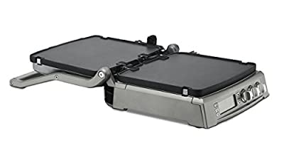 Cuisinart Griddler with 6 In 1 Cooking Options Contact Grill, Panini Press, Full Griddle, Full Grill, Half Grill/Half Griddle & Top Melt, Features Electronic LCD Display & Blue LED Indicator Lights with Sear Function and Adjustable Top Cover