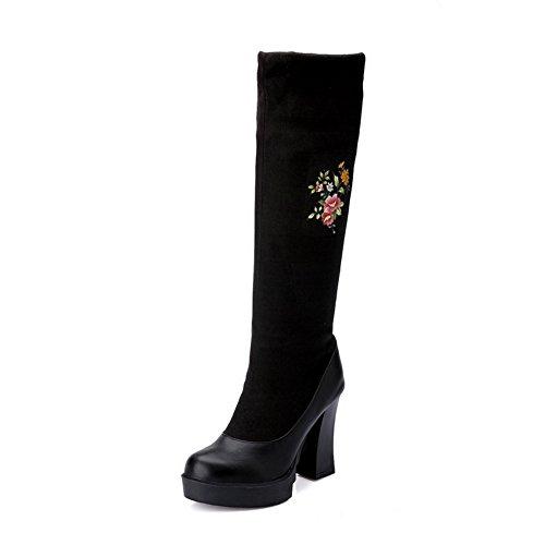 VogueZone009 Damen Ziehen auf Hoher Absatz Gemischte Farbe Stoffdruck Stiefel Schwarz