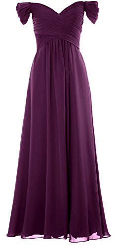 Wedding Party Formal Long Shoulder Eggplant Gown Prom Dress Women Off MACloth Chiffon the wqzaf88