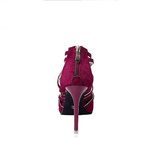 L@YC Frauen-Leder High Heels Fr¨¹hjahr und Herbst und Winter Komfortable Schuhe Toes High Heels Kleid Pumps Rose Red