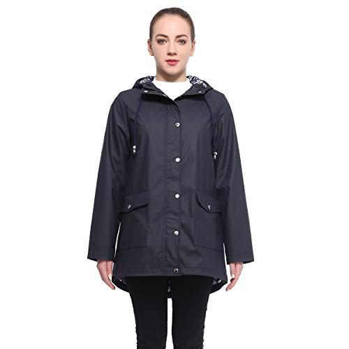 Water Resistant Anorak Jacket - Rokka&Rolla Women's Lightweight Waterproof Hooded Rubberized Rain Jacket Windbreaker Raincoat Parka Anorak