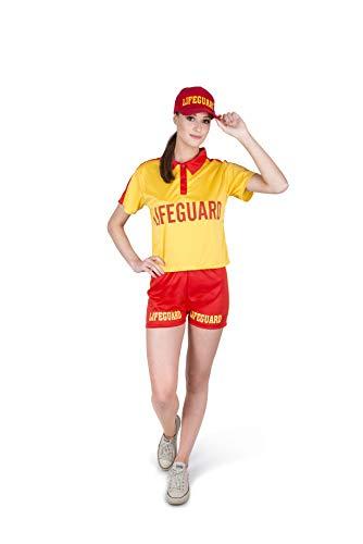 Female Lifeguard Costume - Halloween Beach Watch Rescue Shirt Shorts Cap, M