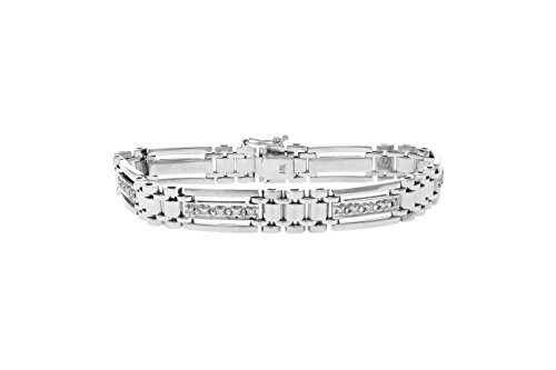 3/4 CT Men's Diamond Bracelet 14K White Gold (I1-I2 Clarity, 32 Grams)