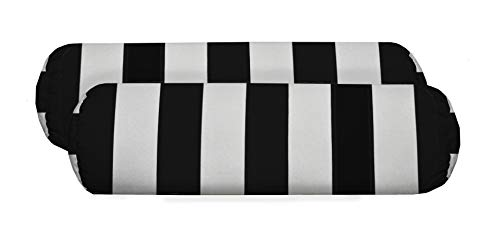 Resort Spa Home Decor Set of 2 - Indoor/Outdoor Jumbo, Large, Over-Sized, Bolster/Neckroll/Lumbar Chaise Lounge Decorative Pillows - Black and White Stripe
