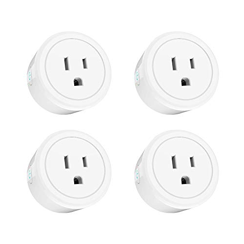 Gagu Wi-Fi smart plug,round outlet 4pcs pack,compatible with Google Home/IFTTT/Alexa,Remote control by your phone from everywhere,voice control socket with wifi,no hub required