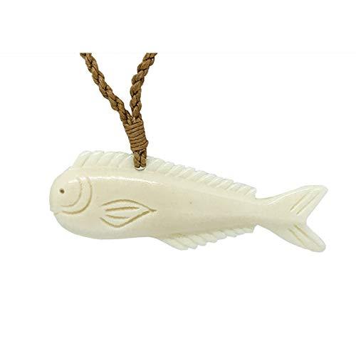 Zero Gravity Hawaii Hawaiian Jewelry Hand Carved Buffalo Bone Mahi Mahi Dorado Fish Necklace ()