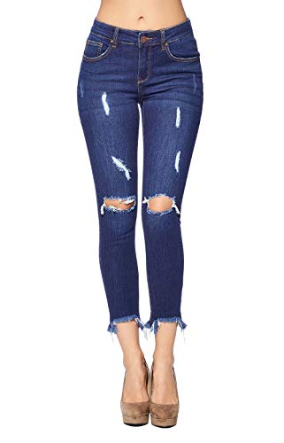 - ICONICC Women's Destroyed Skinny Jeans Frayed Denim (JP1052A_MD_11)