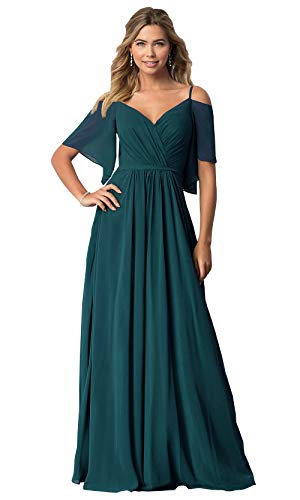KKarine Women's Flutter Sleeves Spaghetti Strap V Neck Prom Dresses Long Formal Evening Gown (12 Peacock)