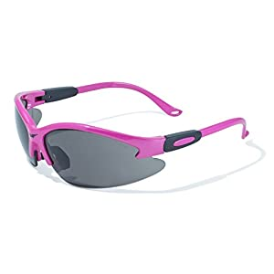 Global Vision Eyewear Pink Frame Cougar Safety Glasses with Smoke Lenses