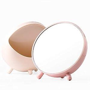 Jeaqw Home Miroir de Stockage pour Ordinateur de Bureau Étudiant dortoir Bureau Mignon Portable Simple Fille Coeur s'habiller Hommes et Femmes à la Maison (Color : Pink)