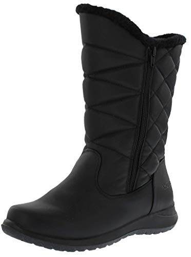 Khombu Carly Womens Fleece Lined Snow Boots, Black, 10 B(M) US