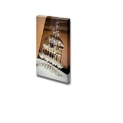 Canvas Prints Wall Art - Champagne Glass Pyramid | Modern Wall Decor/Home Art Stretched Gallery Wraps Giclee Print & Wood Framed. Ready to Hang - 18